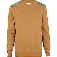 Brown herringbone shoulder patch jumper