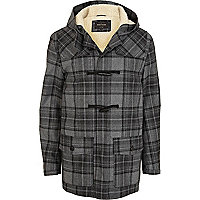 Grey shearling lined check duffle coat