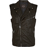 Black leather look biker gilet