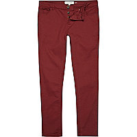 Red skinny stretch trousers