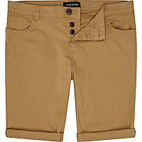 Brown skinny stretch turn up shorts