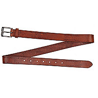 Brown distressed perforated belt
