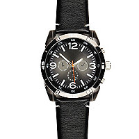 Black oversized gunmetal tone watch