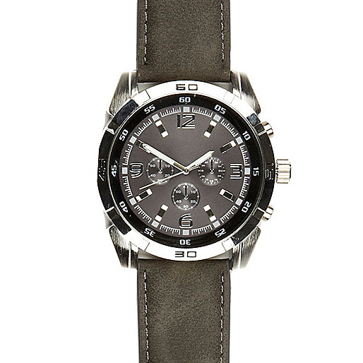 Grey oversized face watch