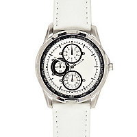 White triple dial watch