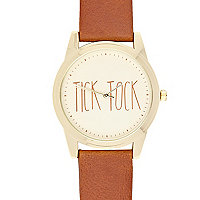 Brown tick tock watch