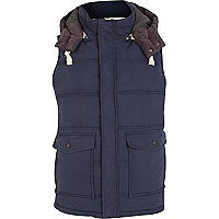 Blue padded utility pocket gilet