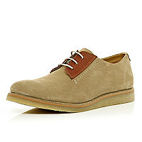 Stone Holloway Road suede contast panel shoes