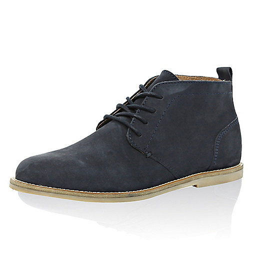 Navy leather lace up chukka boots