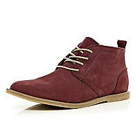 Dark red lace up chukka boots