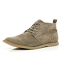 Grey suede lace up chukka boots