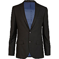 Black double button slim fit suit jacket