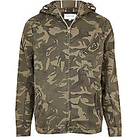 Khaki green camo print casual jacket