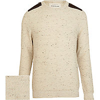 Ecru speckled contrast shoulder tab jumper