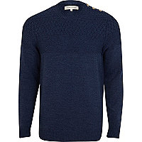 Blue textured yoke button shoulder jumper