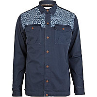 Navy aztec panel denim shacket