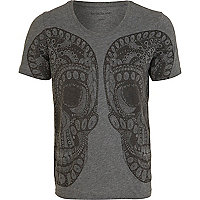 Grey mirrored paisley skull print t-shirt