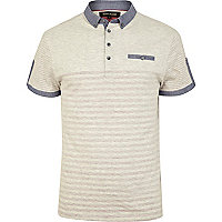 Ecru placement stripe polo shirt