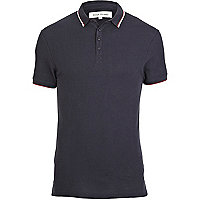 Navy blue tipped collar polo shirt