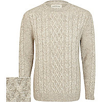 Ecru twist chunky cable knit jumper