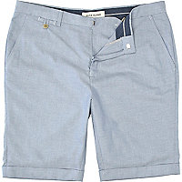 Blue turn up smart shorts