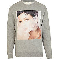 Mens grey Rihanna print sweatshirt