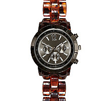 Brown tortoise shell plastic bracelet watch