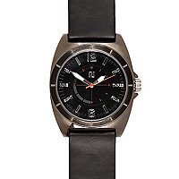 Black sleek strap gunmetal watch