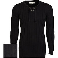 Black lace neck jumper