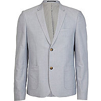 Light blue oxford double button blazer