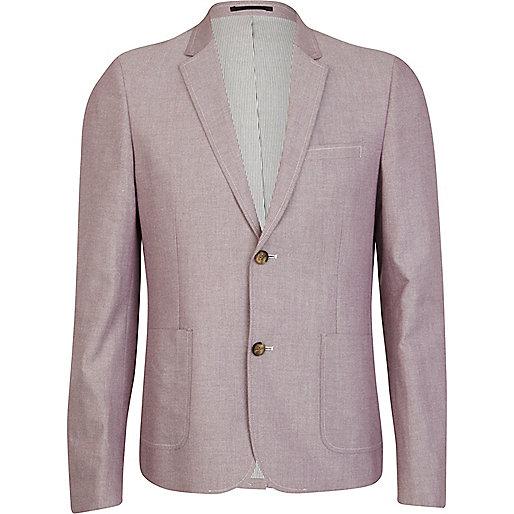 Light pink double button oxford blazer
