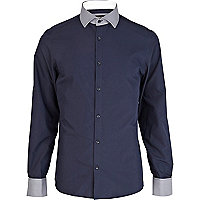 Navy check print trim shirt