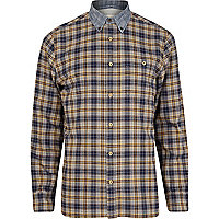 Grey check contrast collar long sleeve shirt