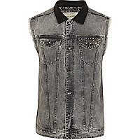 Grey acid wash stud leather look collar gilet
