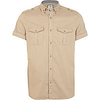 Stone short sleeve military shirt
