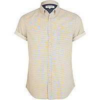 Ecru ditsy print short sleeve shirt