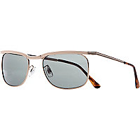 Brown metal half bar sunglasses