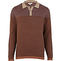 Brown print colour block knitted polo shirt