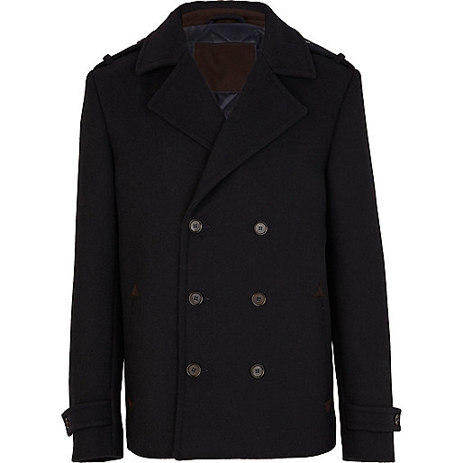Navy wool double breasted jacket