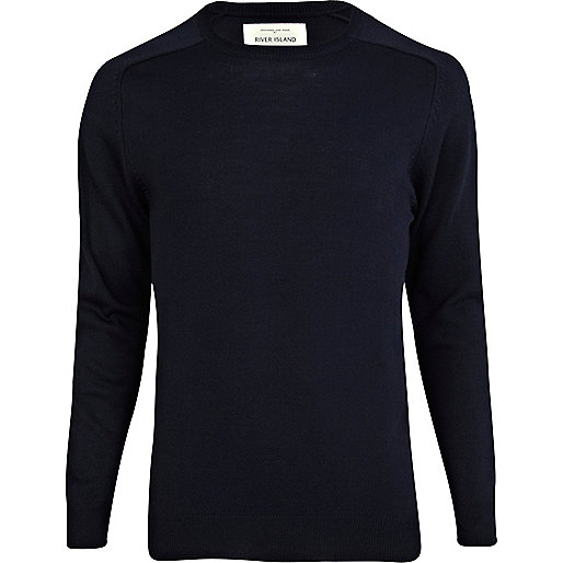 Navy blue elbow patch jumper