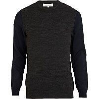 Grey contrast sleeve colour block jumper