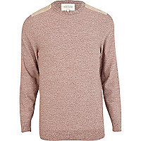 Rust shoulder patch jumper