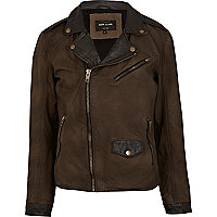 Green and black contrast panel leather jacket