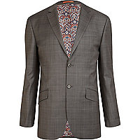 Grey Life Of Tailor checked slim suit jacket
