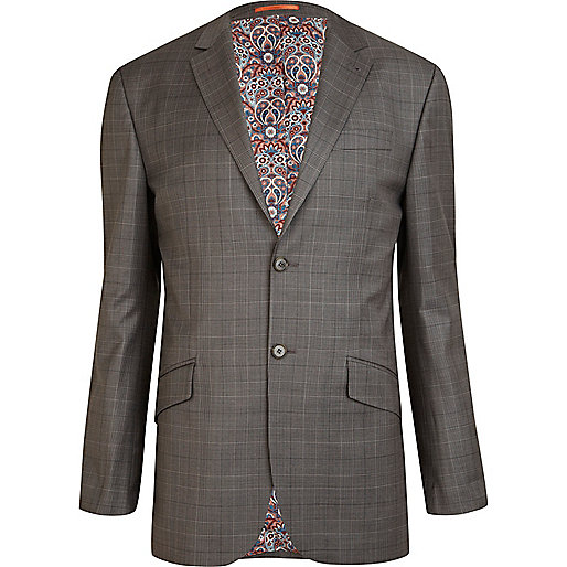 Grey Life Of Tailor check slim suit jacket