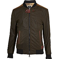 Green Holloway Road wax contrast trim jacket
