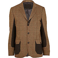 Brown Holloway Road check colour block blazer
