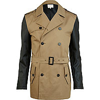 Brown leather look sleeve smart jacket
