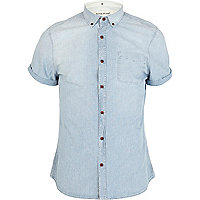 Blue washed short sleeve denim shirt