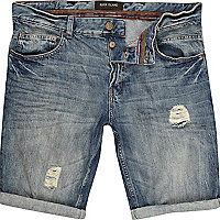 Light wash ripped turn up denim shorts